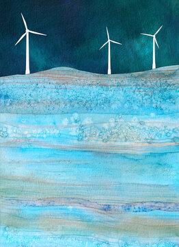 Wind Farm, a watercolor collage
