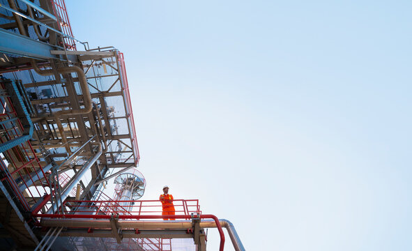 A worker in the oil refinery