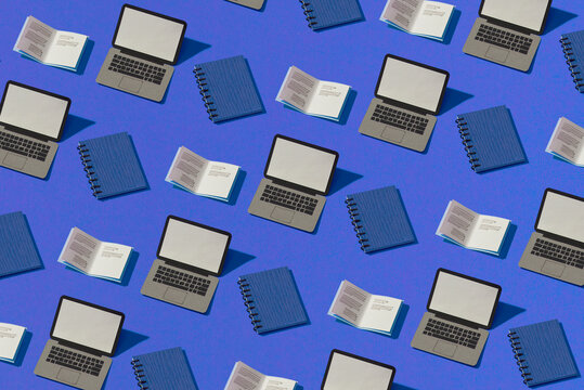 Software development, programming, coding, e-learning, reading digital book. Seamless minimalistic isometric laptop pattern.