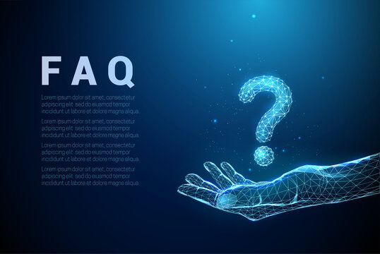 Abstract blue polygonal giving hand with question mark