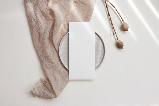 Card menu mockup on plate