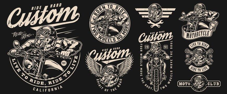 Custom motorcycle vintage labels set