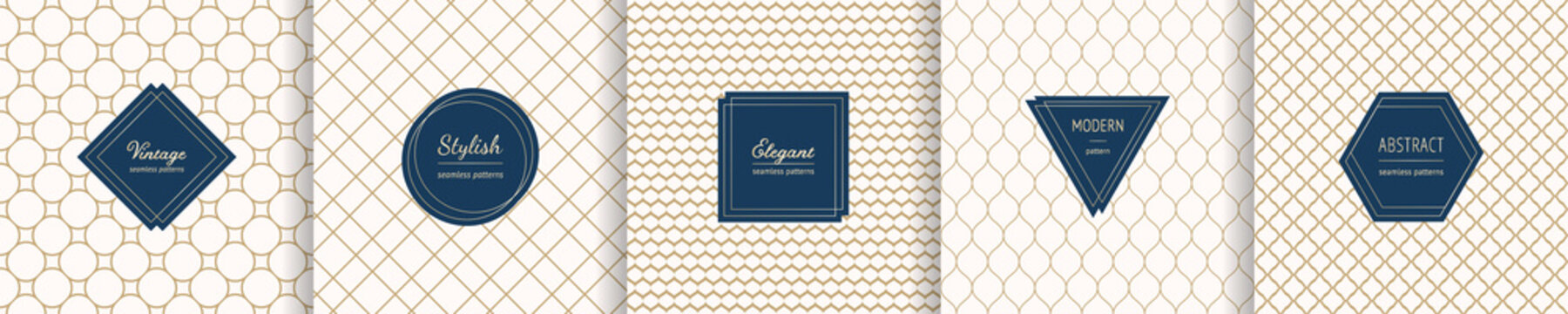 Set of vector golden geometric seamless patterns with modern minimal labels. Elegant mesh textures. Subtle gold backgrounds collection. Art deco style. Premium design template for decor, product, card