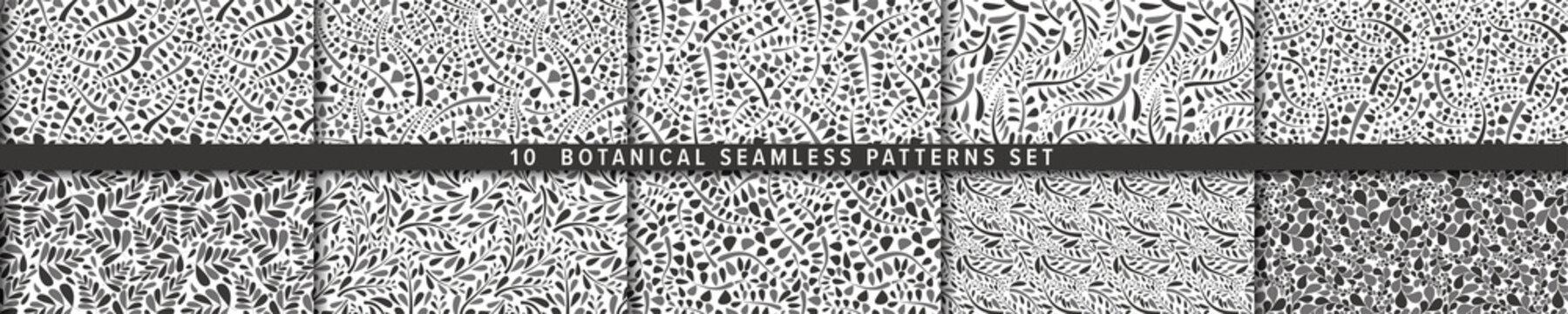 Seamless vector pattern set.  Botanical motif, organic motif background. 有機的背景のベクターパターンセット