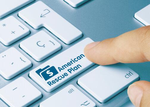 American Rescue Plan - Inscription on Blue Keyboard Key.