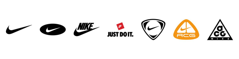 Nike brand different logo set. Editorial image. VINNITSIA, UKRAINE. MARCH 16, 2021.