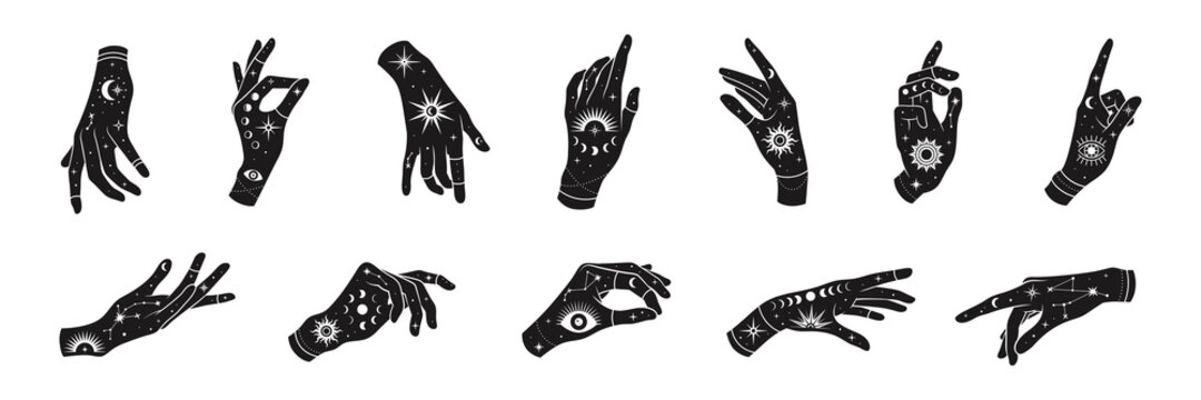 Vector set of woman hands with mystical magic symbols-eyes, sun, phrases of moon, stars, jewels. Spiritual occultism objects, templates for logo design.
