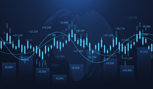 Stock market or forex trading graph in futuristic concept for financial investment or economic trends business idea. Financial trade concept. Stock market and exchange Candle stick graph chart vector.