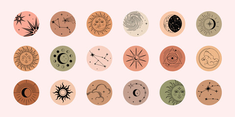 Fototapeta Vector set of highlights with moon, sun, clouds, stars and constellations. Mystical magic elements, spiritual occultism objects. Trendy colors, minimal style. obraz