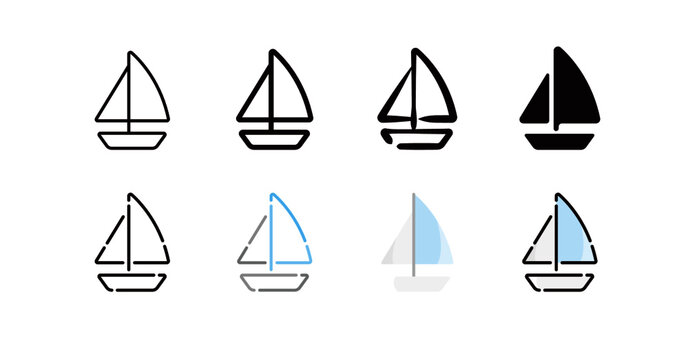 Sailing Icon Set (8 different style vector icon set)