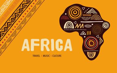 Fototapeta Africa patterned map. Banner with tribal traditional grunge pattern, elements, concept design obraz