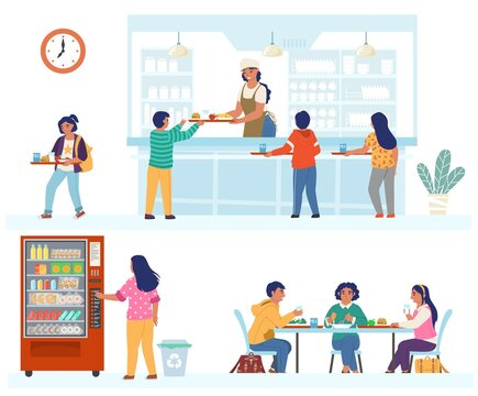 School canteen, cafeteria, cafe scene set, flat vector isolated illustration. Happy children having lunch.