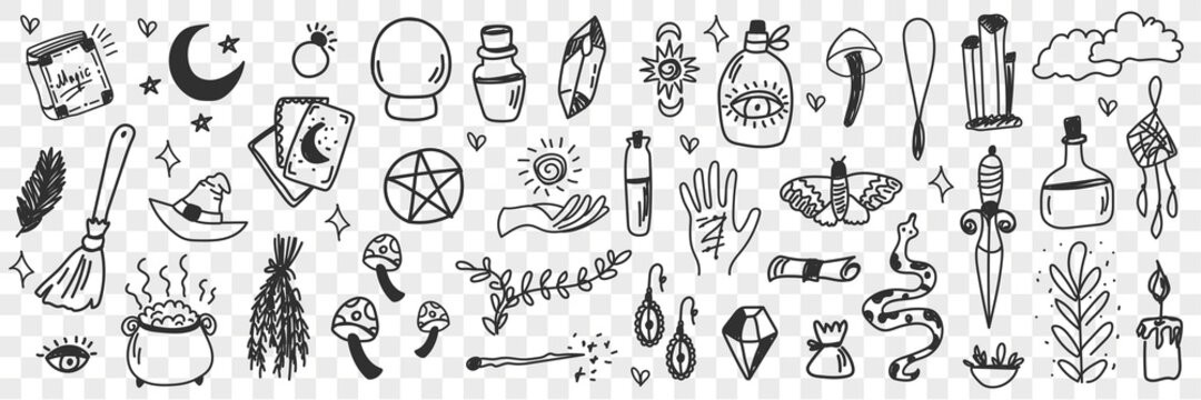 Esoteric witchcraft attributes doodle set. Collection of hand drawn witch tools occult objects hats broom cards moonlight snake isolated on transparent background