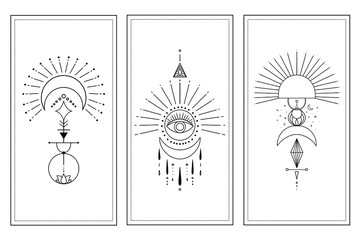 Obraz Set of mystical vector illustrstions. Celestial template for card.  - fototapety do salonu