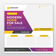 Wall Mural - Modern Home and Real Estate for Sale Social Media Banner Post Template