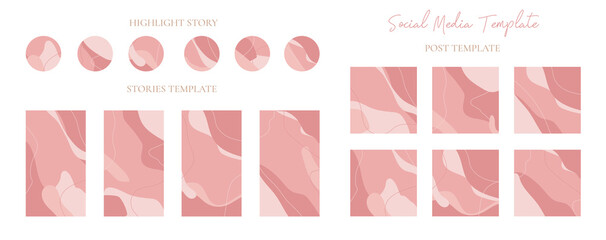Wall Mural - Set of pink instagram stories and highlight stories icon with post template easily editable vector