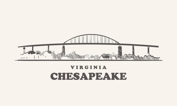 Chesapeake skyline, virginia drawn sketch