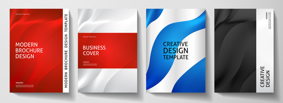 Modern cover design set.  Abstract wavy line pattern (guilloche curves) in red, blue, black, white color. Creative stripe vector layout for business background, certificate, brochure template, booklet