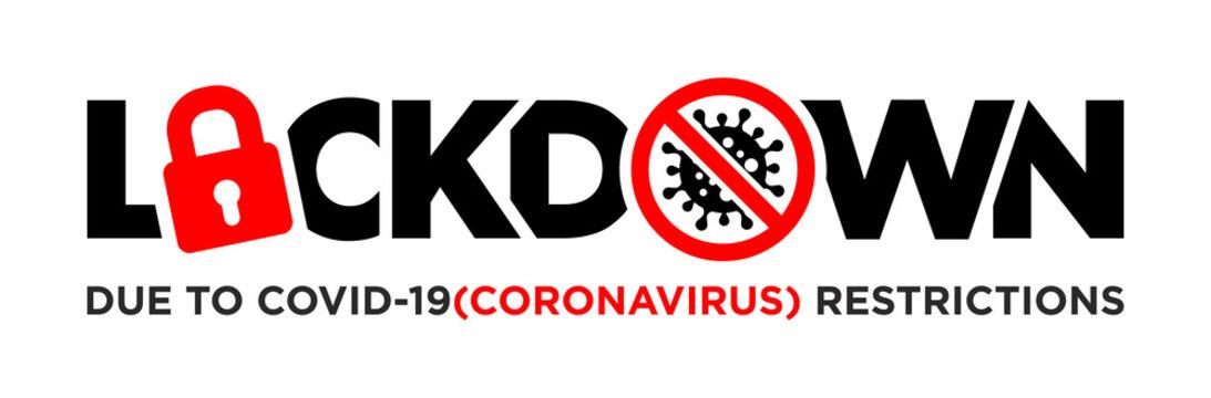 Lock down  due to coronavirus COVID-19. Pandemic world lockdown for quarantine. Corona Virus Vector on transparent background