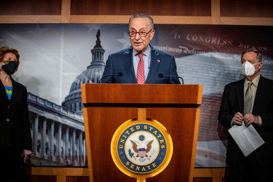 U.S. Senate Majority Leader Chuck Schumer holds news conference
