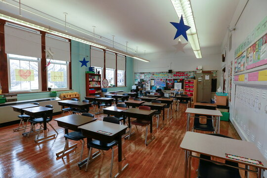 A view shows a classroom one day before the return of the students to school after the coronavirus disease (COVID-19) restrictions were adjusted, in Louisville