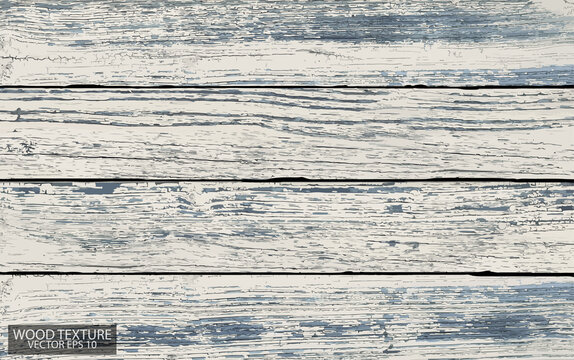 Old shabby wooden boards painted white and blue. Weathered wood texture, EPS 10 vector.