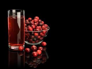 Wall Murals Juice Glass with cranberry berry juice and vase from glass filled with cranberry berries