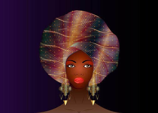 Nigerian Headtie, portrait African American woman wearing ethnic Afro turban, gold earrings. Beauty black girl in Yoruba Wedding clothes hairstyles. Fashion model vector isolated on purple background