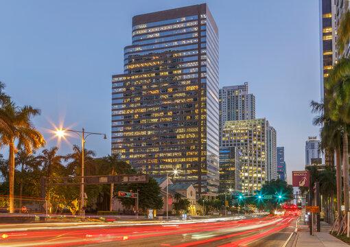 Building on Biscayne Boulevard, downtown Miami, Florida, USA