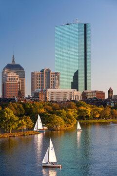 View of Charles river and Boston skyline with 200 Clarendon skyscraper, Boston, Massachusetts. USA