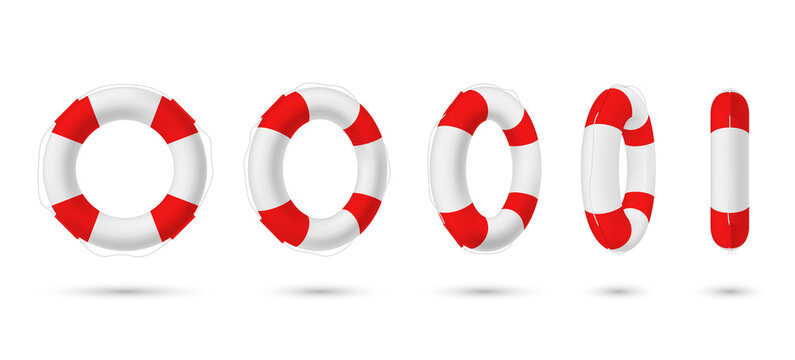 Collection of realistic lifebuoy striped circle with shadow vector rescue life belt marine lifeline