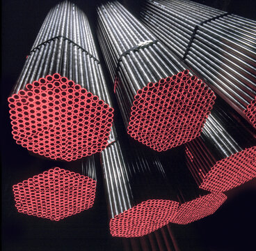 Finished steel pipes in steel works