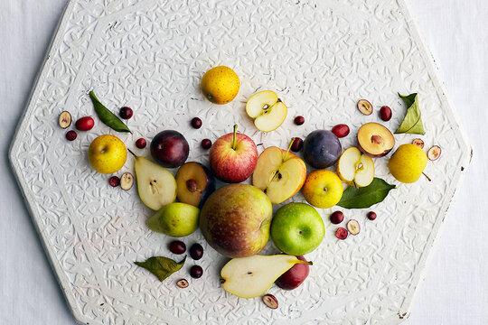 Apples, plum and peach