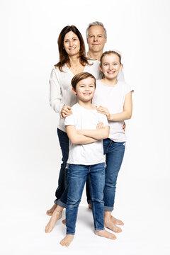 Family of four, white background