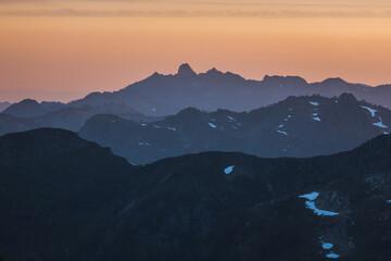 Sunset over Winchester Mountain, North Cascades, Washington, USA Wall mural