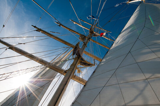 View of sails of Star Clipper sailing cruise ship