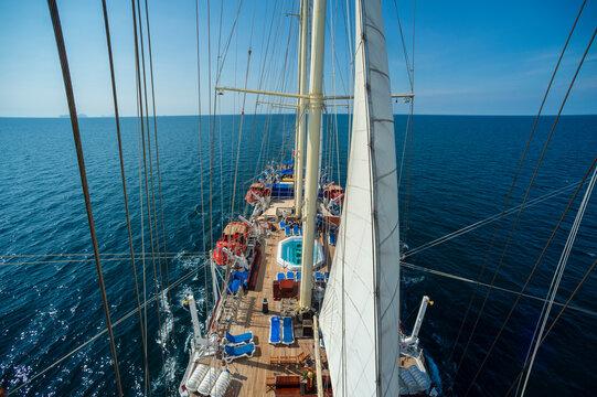 Star Clipper cruise ship sailing in Andaman sea, Thailand