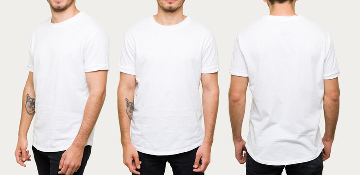 Latin man posing with a casual white t-shirt
