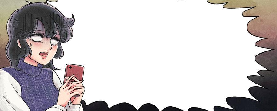 少女漫画タッチ・スマホを見てショックを受けるお姉さん・ふきだしバナー
