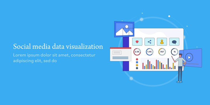 Social media data visualization software application dashboard. Customized reporting with diagram, chart, graph social media metrics and marketing data analysis, web banner template.