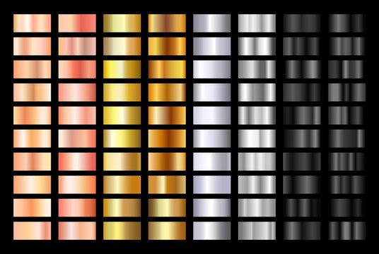Gold rose, silver, black and gold texture gradation background set. Metallic vector gradients. Elegant, shiny big gradient collection for chrome button, ribbon, metal frame, border, label design.