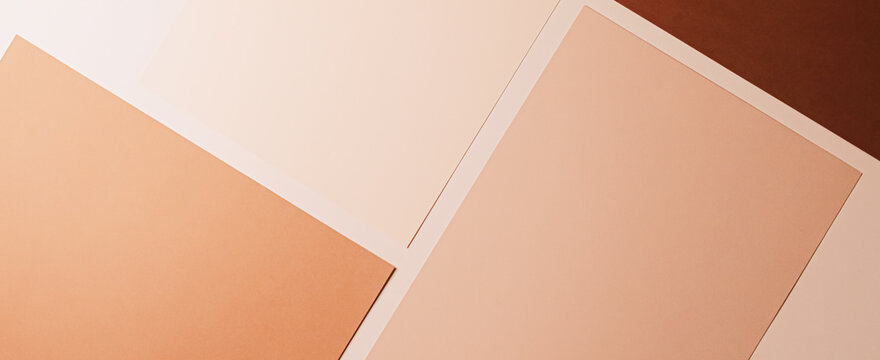 Beige and brown A4 papers as office stationery flatlay, luxury branding flat lay and brand identity design for mockups