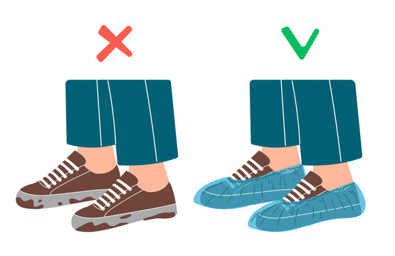 Dirty shoes and shoe covers. Vector illustration illustration in flat and cartoon style