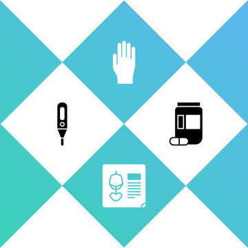Set Medical digital thermometer, X-ray shots, rubber gloves and Medicine bottle and pills icon. Vector
