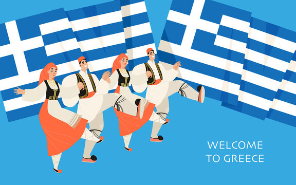 Vector banner with the image of young men and women dancing sirtaki and the flag of Greece. Concept illustration in cartoon style