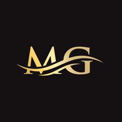 Fototapeta Water Wave MG Logo Vector. Swoosh Letter MG Logo Design for business and company identity. obraz