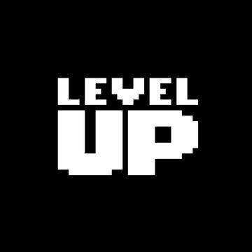 image level up pixels, for 8 bit games. Vector illustration of cross stitch pattern.