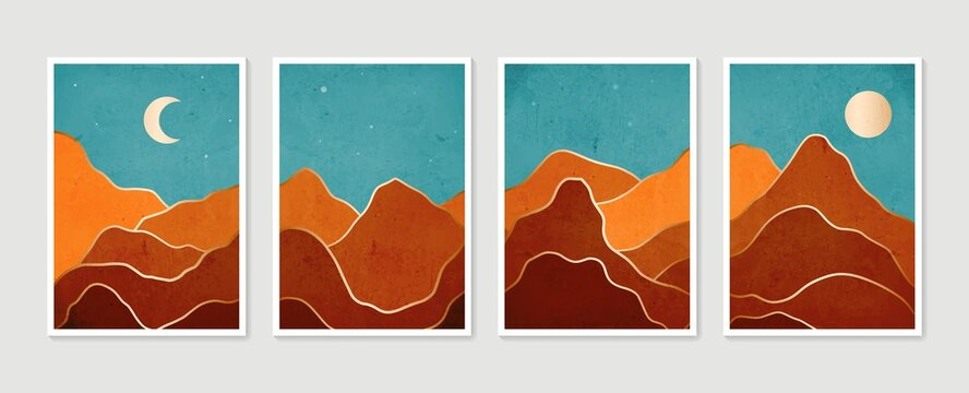 Collection modern minimalist art print. Abstract mountain contemporary aesthetic backgrounds landscapes. Arts design for wall framed prints, poster, cover, home decor, canvas prints, wallpaper.
