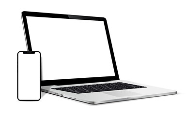 Obraz Isolated Devices Mockup. Smartphone and Laptop device with blank screen. - fototapety do salonu