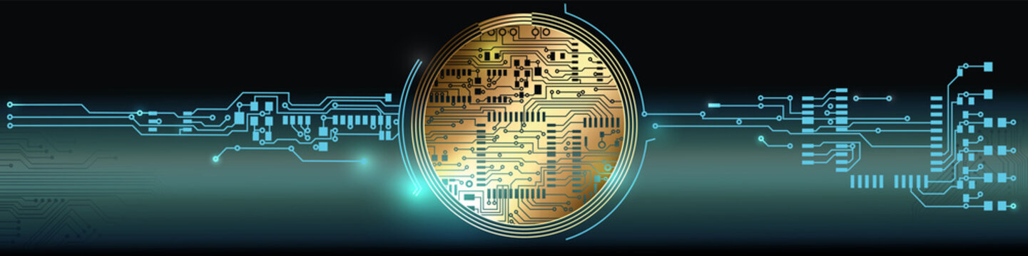 Abstract hitech design background with round shape and circuit boards. Vector Illustration